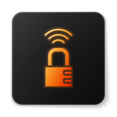 Orange glowing neon Smart safe combination lock icon isolated on white background. Combination padlock. Security, safety, protection, password, privacy. Black square button. Vector