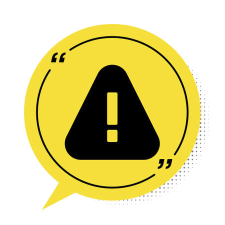 Black Exclamation mark in triangle icon isolated on white background. Hazard warning sign, careful, attention, danger warning sign. Yellow speech bubble symbol. Vector