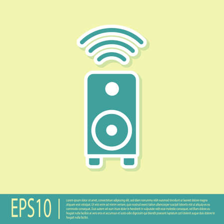 Green Smart stereo speaker system icon isolated on yellow background. Sound system speakers. Internet of things concept with wireless connection. Vector 向量圖像
