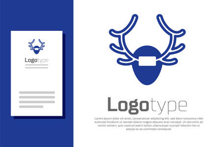 Blue Deer antlers on shield icon isolated on white background. Hunting trophy on wall.  design template element. Ilustracja