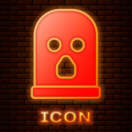 Glowing neon Balaclava icon isolated on brick wall background. A piece of clothing for winter sports or a mask for a criminal or a thief. Vector