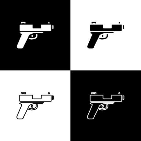Set Pistol or gun icon isolated on black and white background. Police or military handgun. Small firearm. Vector