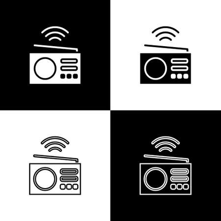 Set Smart radio system icon isolated on black and white background. Internet of things concept with wireless connection. Vector Illustration