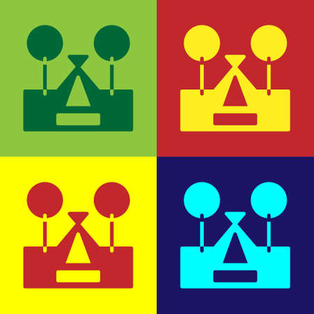 Pop art Tourist tent icon isolated on color background. Camping symbol. Vector