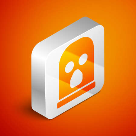 Isometric Balaclava icon isolated on orange background. A piece of clothing for winter sports or a mask for a criminal or a thief. Silver square button. Vector