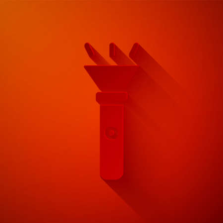 Paper cut Flashlight icon isolated on red background. Paper art style.
