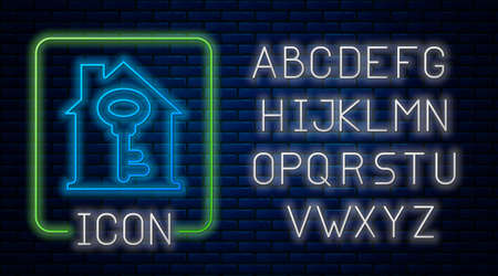 Glowing neon House with key icon isolated on brick wall background. The concept of the house turnkey. Neon light alphabet.