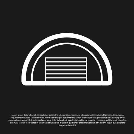 Black Garage icon isolated on black background. Vector