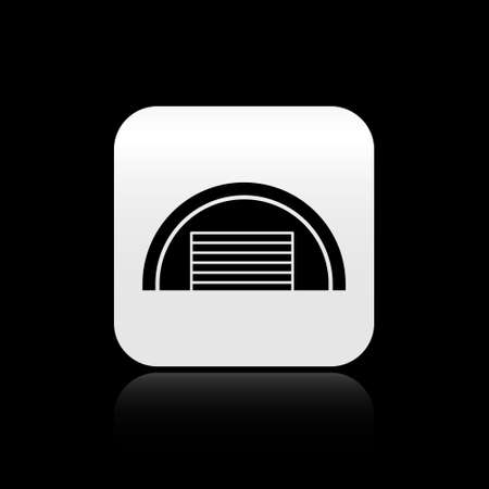 Black Garage icon isolated on black background. Silver square button. Vector Ilustracja