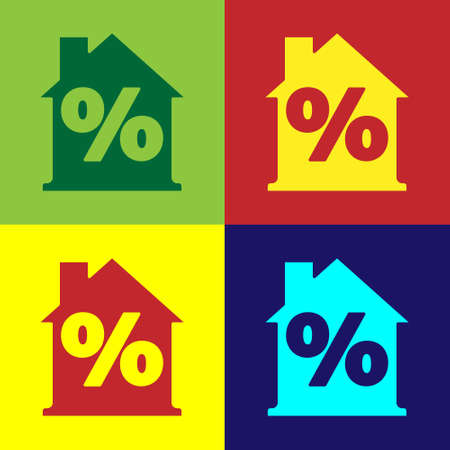 Pop art House with percant discount tag icon isolated on color background. Real estate home. Credit percentage symbol. Vector