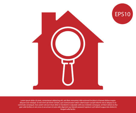 Red Search house icon isolated on white background. Real estate symbol of a house under magnifying glass. Vector