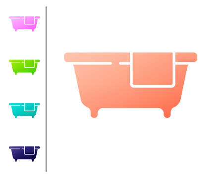 Coral Bathtub icon isolated on white background. Set color icons.
