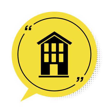 Black House icon isolated on white background. Home symbol. Yellow speech bubble symbol. Vector