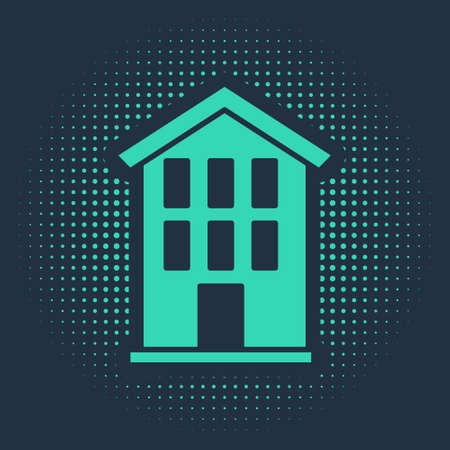 Green House icon isolated on blue background. Home symbol. Abstract circle random dots. Vector