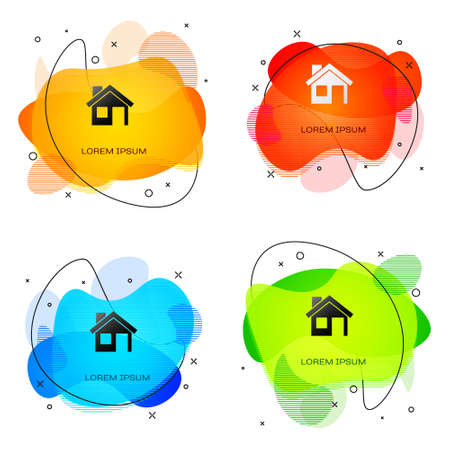 Black House icon isolated on white background. Home symbol. Abstract banner with liquid shapes. Vector Ilustracja