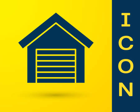 Blue Garage icon isolated on yellow background.