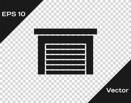 Black Garage icon isolated on transparent background. Vector Ilustracja