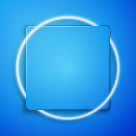 White Garage icon isolated on blue background. Blue square button. Vector