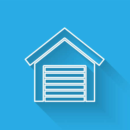 White line Garage icon isolated with long shadow. Vector