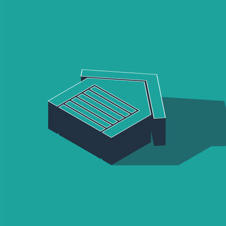 Isometric Garage icon isolated on green background. Vector