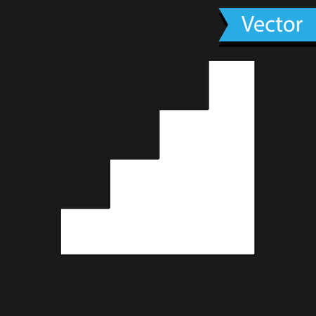 White Staircase icon isolated on black background. Vector