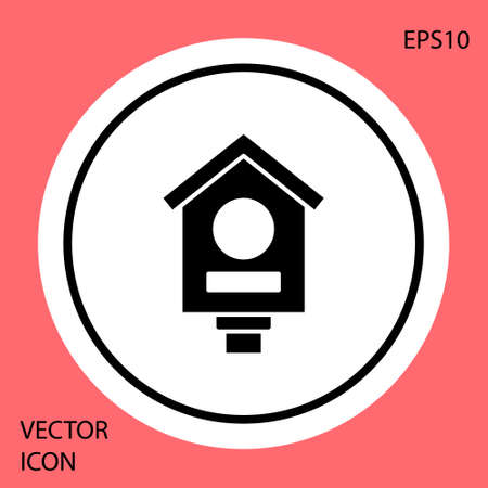 Black Bird house icon isolated on red background. Nesting box birdhouse, homemade building for birds. White circle button. Vector Ilustracja
