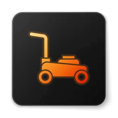 Orange glowing neon Lawn mower icon isolated on white background. Lawn mower cutting grass. Black square button. Vector Stock Illustratie