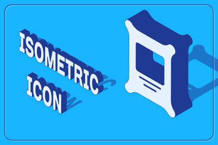 Isometric Fertilizer bag icon isolated on blue background. Vector
