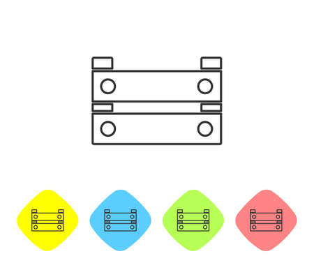 Grey line Wooden box icon isolated on white background. Grocery basket, storehouse crate. Empty wooden container for vegetables, products. Set icons in color rhombus buttons. Vector Illusztráció