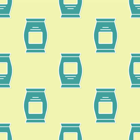 Green Fertilizer bag icon isolated seamless pattern on yellow background. Vector