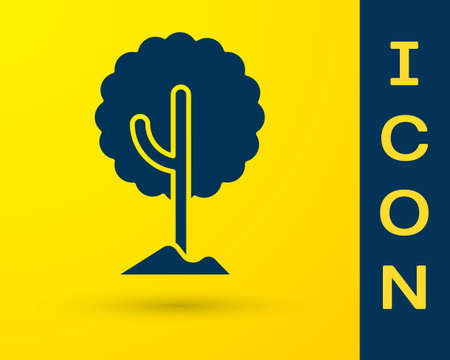 Blue Tree icon isolated on yellow background. Forest symbol.