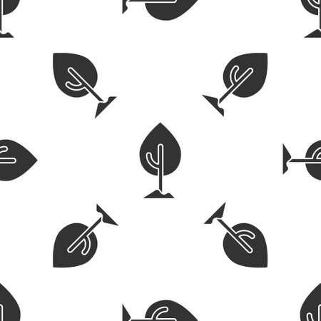 Grey Tree icon isolated seamless pattern on white background. Forest symbol.