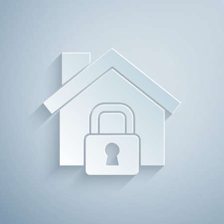 Paper cut House under protection icon isolated on grey background. Home and lock. Protection, safety, security, protect, defense concept. Paper art style. Vector Ilustracja