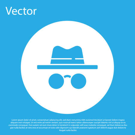 Blue Incognito mode icon isolated on blue background. White circle button. Vector