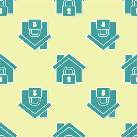 Green House under protection icon isolated seamless pattern on yellow background. Home and lock. Protection, safety, security, protect, defense concept. Vector