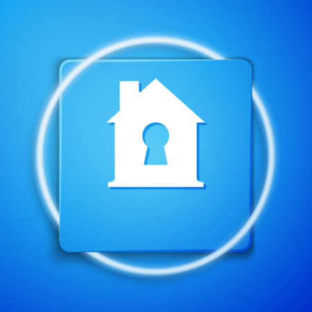 White House under protection icon isolated on blue background. Home and shield. Protection, safety, security, protect, defense concept. Blue square button. Vector Ilustracja