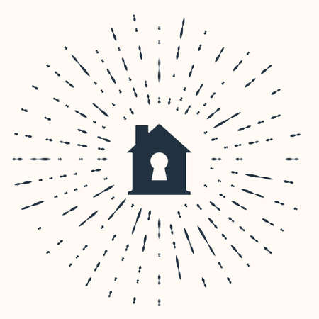Grey House under protection icon isolated on beige background. Home and shield. Protection, safety, security, protect, defense concept. Abstract circle random dots. Vector