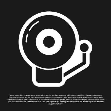 Black Ringing alarm bell icon isolated on black background. Alarm symbol, service bell, handbell sign, notification symbol. Vector 일러스트