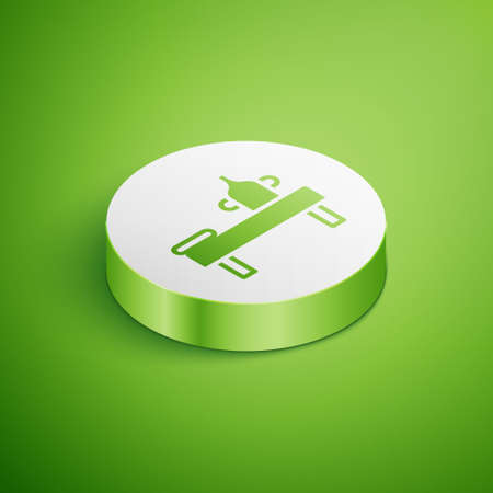 Isometric Massage table with oil icon isolated on green background. White circle button. Vector 矢量图像