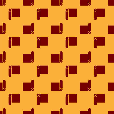 Red Fitness mat roll icon isolated seamless pattern on brown background. Yoga mat rolled. Sport equipment. Vector