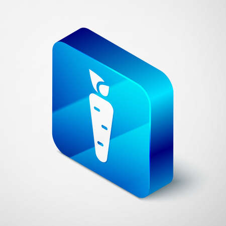 Isometric Carrot icon isolated on grey background. Blue square button. Vector