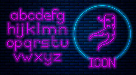 Glowing neon Ginger root icon isolated on brick wall background. Neon light alphabet. Vector Ilustracja