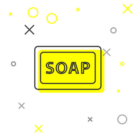 Grey line Bar of soap icon isolated on white background. Soap bar with bubbles. Vector. Illusztráció