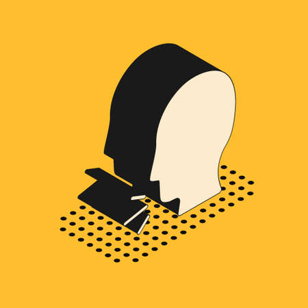 Isometric Man coughing icon isolated on yellow background. Viral infection, influenza, flu, cold symptom. Tuberculosis, mumps, whooping cough. Vector..
