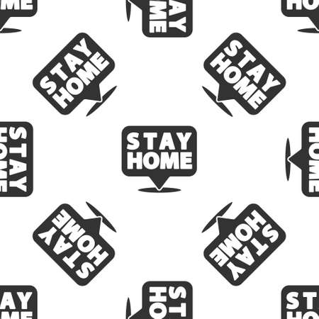 Grey Stay home icon isolated seamless pattern on white background. Corona virus 2019-nCoV. Vector.