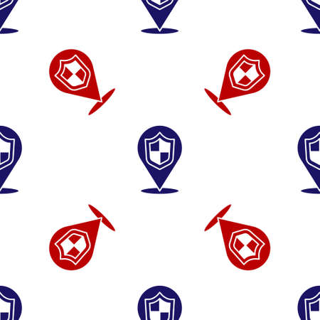 Blue and red Location shield icon isolated seamless pattern on white background. Insurance concept. Guard sign. Security, safety, protection, privacy concept. Vector. Illusztráció