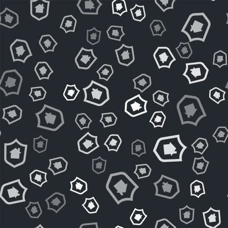 Grey House with shield icon isolated seamless pattern on black background. Insurance concept. Security, safety, protection, protect concept. Vector.