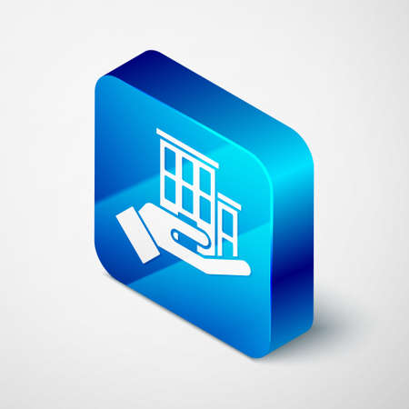 Isometric House insurance icon isolated on grey background. Security, safety, protection, protect concept. Blue square button. Vector. Ilustracja
