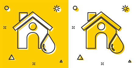 Black House flood icon isolated on yellow and white background. Home flooding under water. Insurance concept. Security, safety, protection, protect concept..
