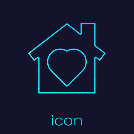 Turquoise line House with heart inside icon isolated on blue background. Love home symbol. Family, real estate and realty. Vector. Ilustracja